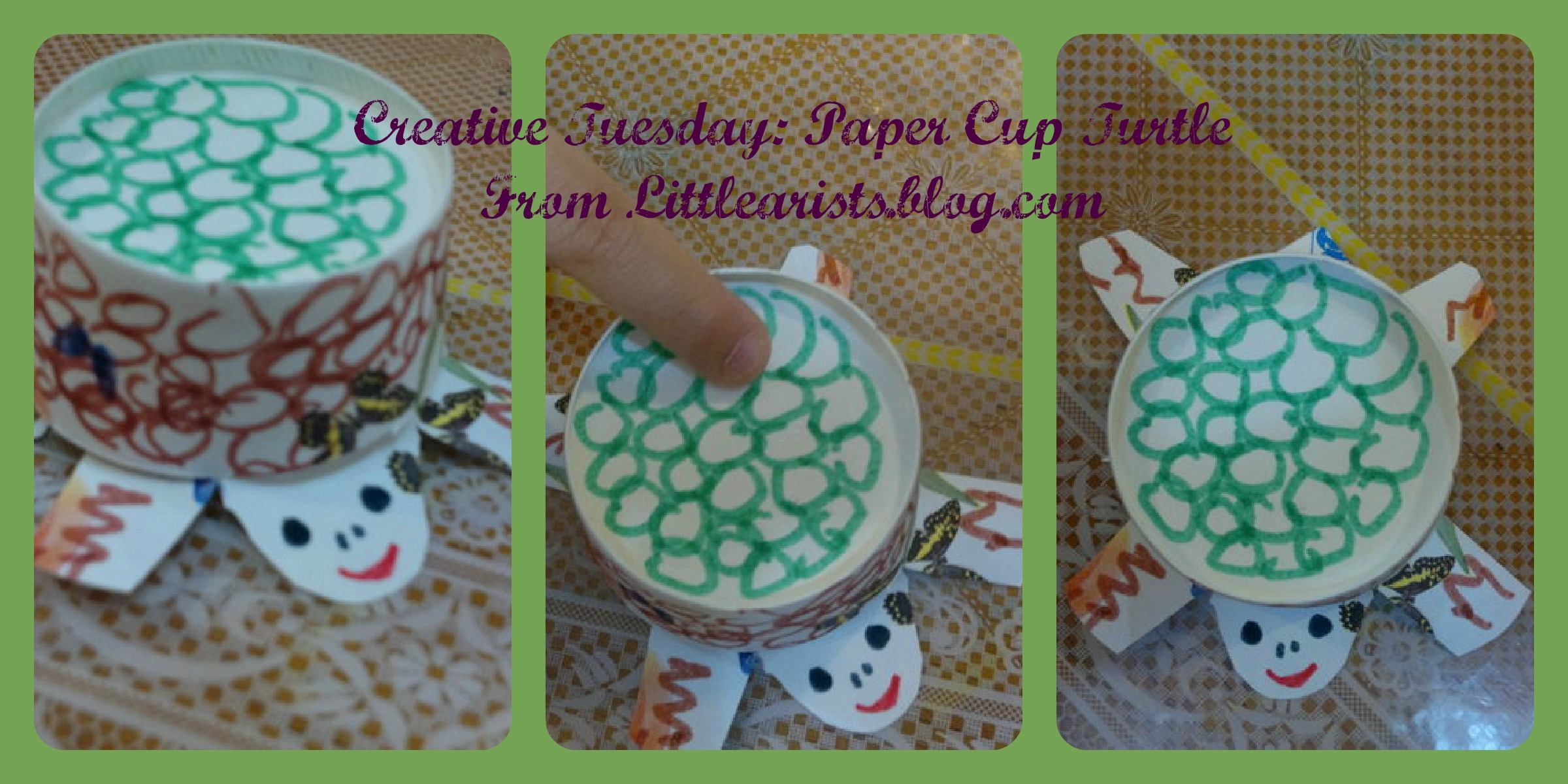 Creative tuesday paper cup turtle creative world of varya for How to make something creative with paper